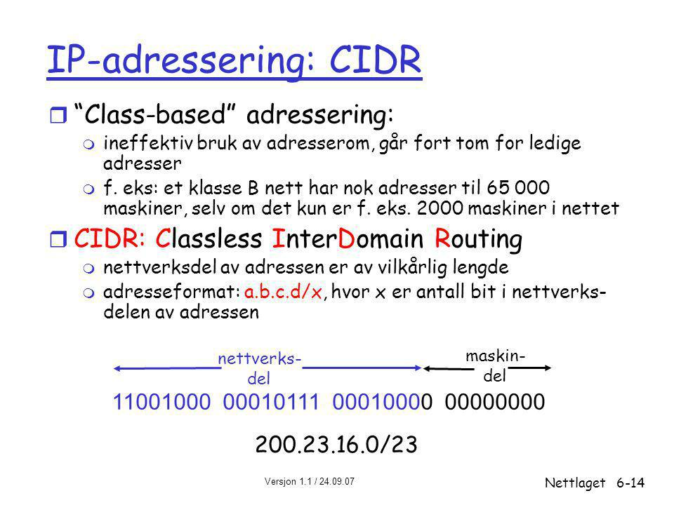 IP-adressering: CIDR Class-based adressering: