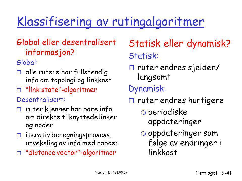 Klassifisering av rutingalgoritmer