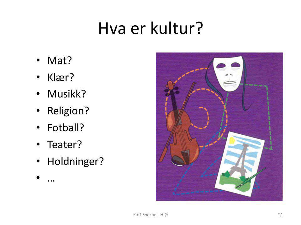 Hva er kultur Mat Klær Musikk Religion Fotball Teater
