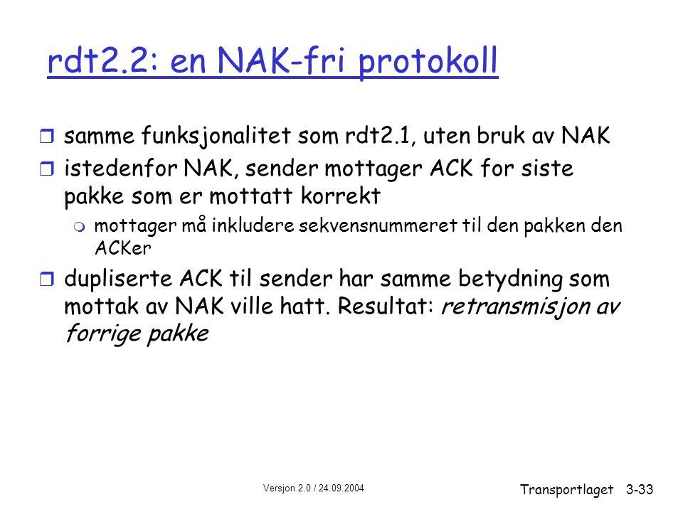 rdt2.2: en NAK-fri protokoll