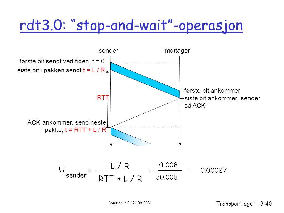 rdt3.0: stop-and-wait -operasjon