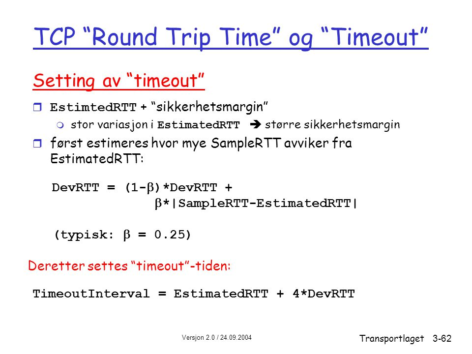 TCP Round Trip Time og Timeout