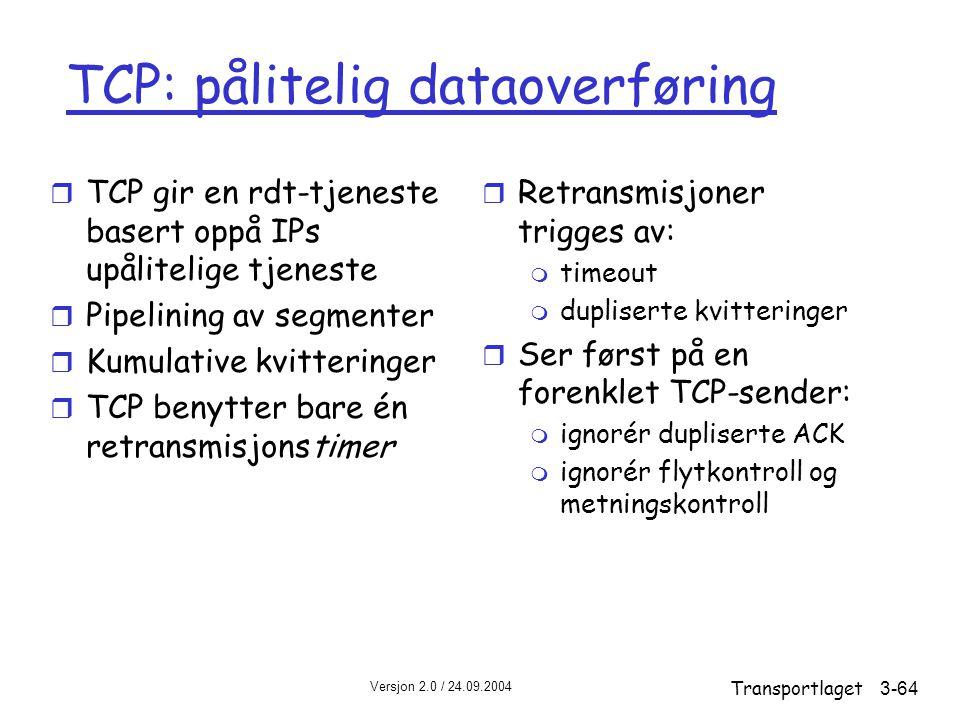 TCP: pålitelig dataoverføring
