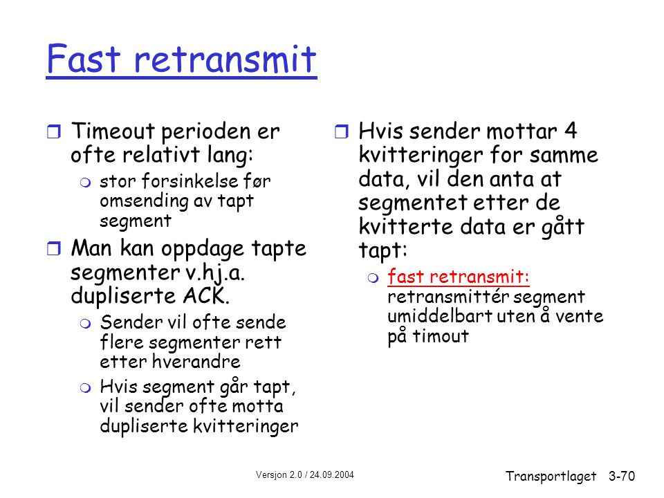 Fast retransmit Timeout perioden er ofte relativt lang: