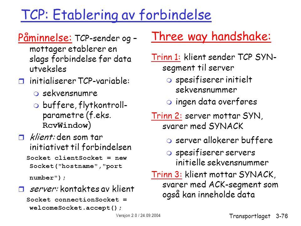 TCP: Etablering av forbindelse