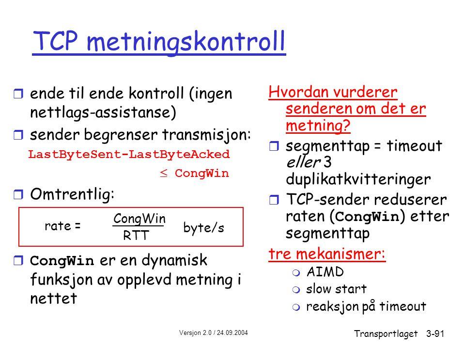 TCP metningskontroll ende til ende kontroll (ingen nettlags-assistanse) sender begrenser transmisjon: