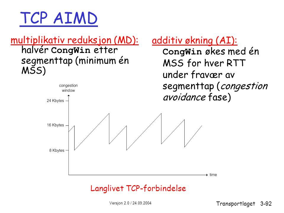 TCP AIMD multiplikativ reduksjon (MD): halvér CongWin etter segmenttap (minimum én MSS)