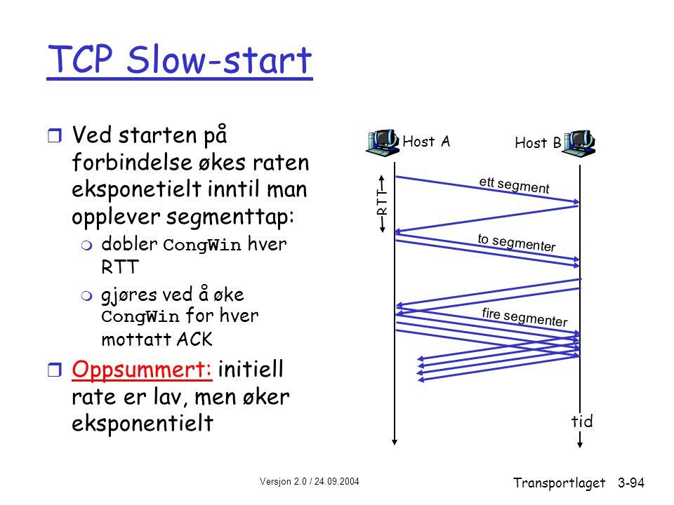 TCP Slow-start Ved starten på forbindelse økes raten eksponetielt inntil man opplever segmenttap: dobler CongWin hver RTT.