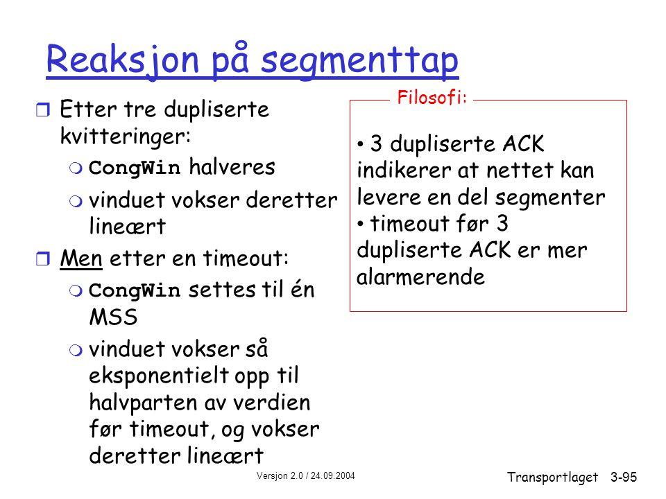 Reaksjon på segmenttap