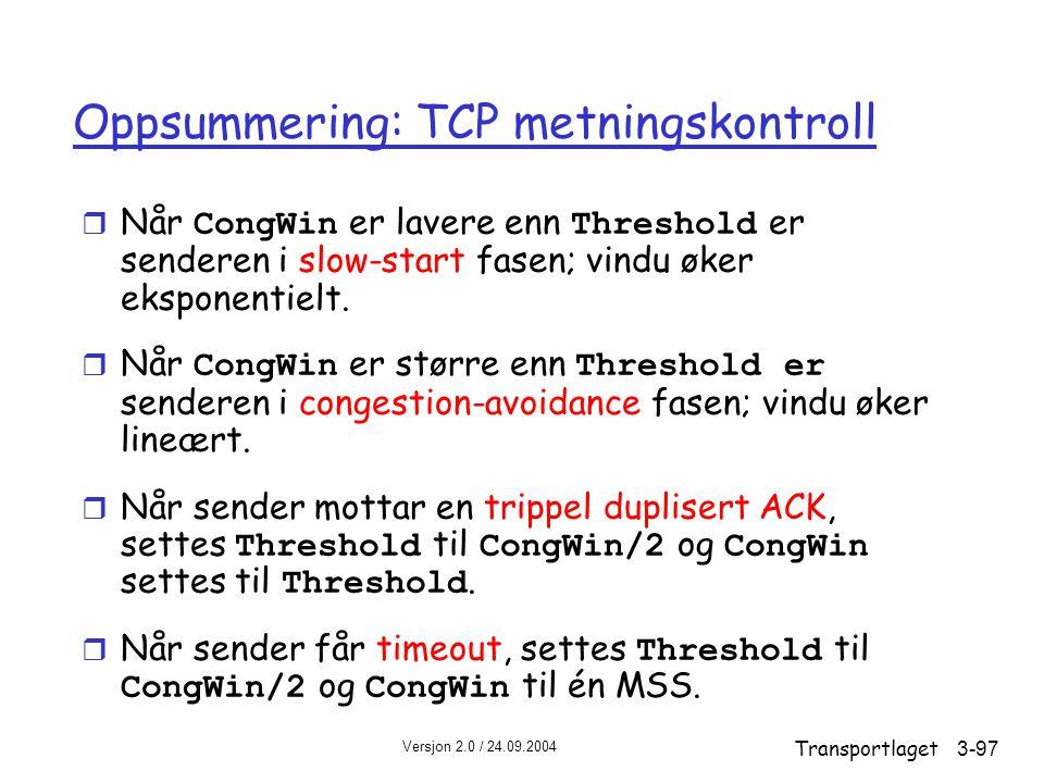 Oppsummering: TCP metningskontroll
