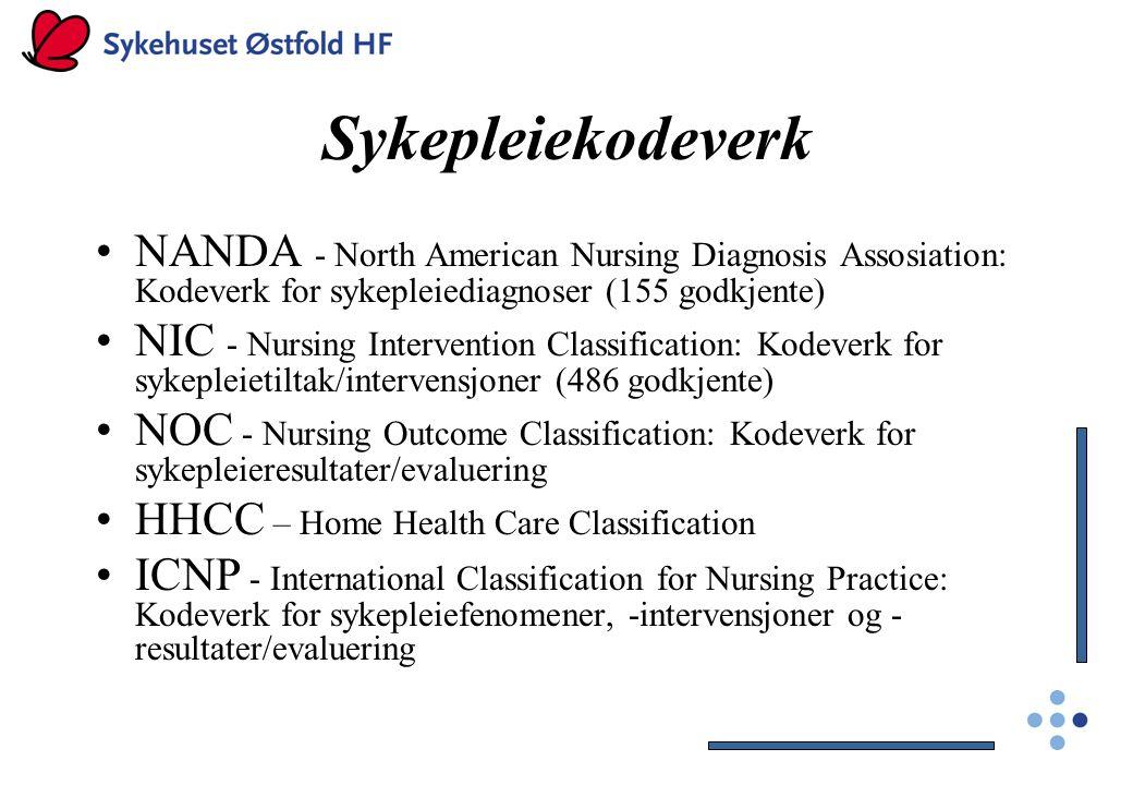 Sykepleiekodeverk NANDA - North American Nursing Diagnosis Assosiation: Kodeverk for sykepleiediagnoser (155 godkjente)