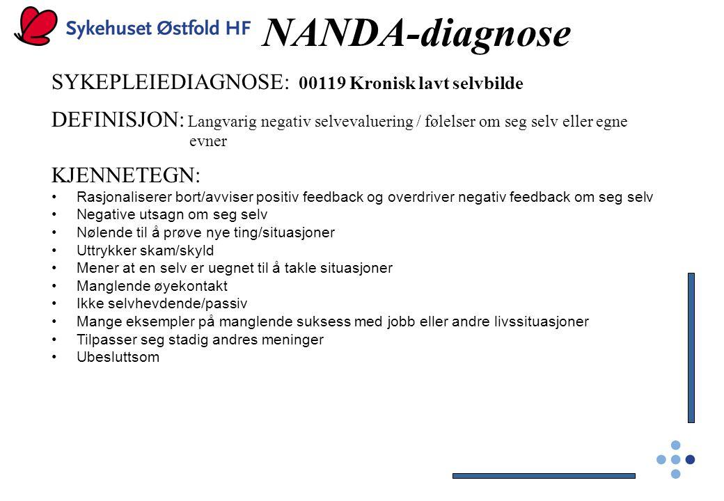 NANDA-diagnose SYKEPLEIEDIAGNOSE: 00119 Kronisk lavt selvbilde