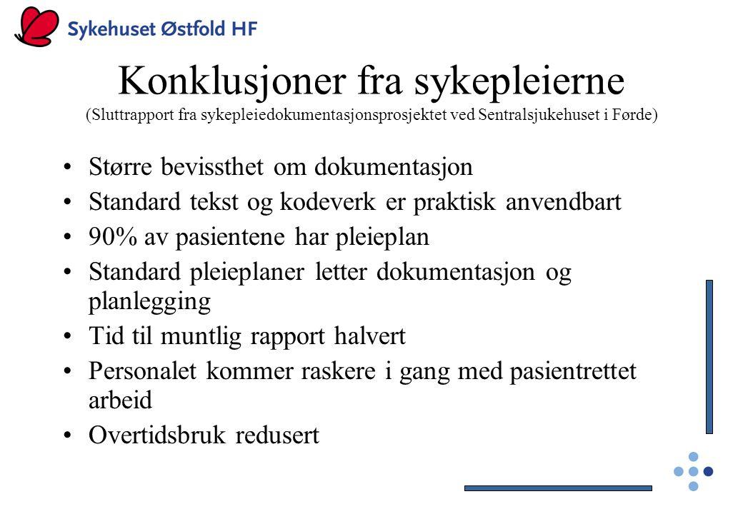 Konklusjoner fra sykepleierne (Sluttrapport fra sykepleiedokumentasjonsprosjektet ved Sentralsjukehuset i Førde)