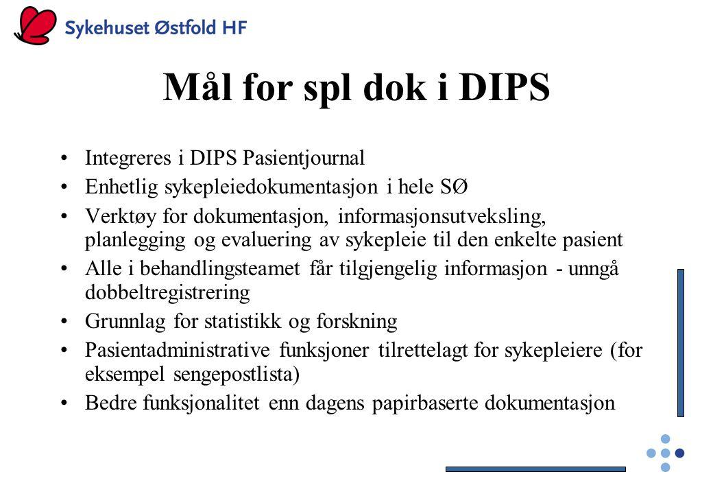 Mål for spl dok i DIPS Integreres i DIPS Pasientjournal