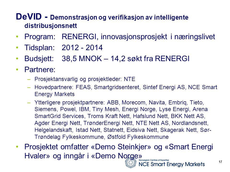 DeVID - Demonstrasjon og verifikasjon av intelligente distribusjonsnett