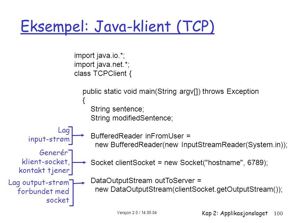 Eksempel: Java-klient (TCP)