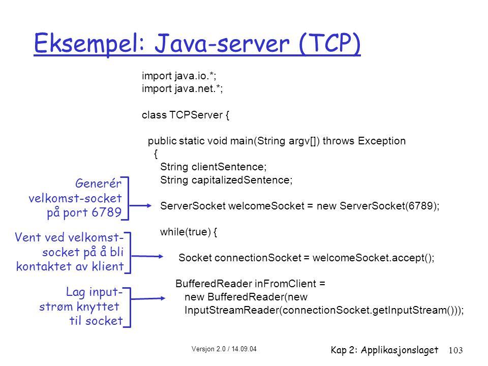Eksempel: Java-server (TCP)