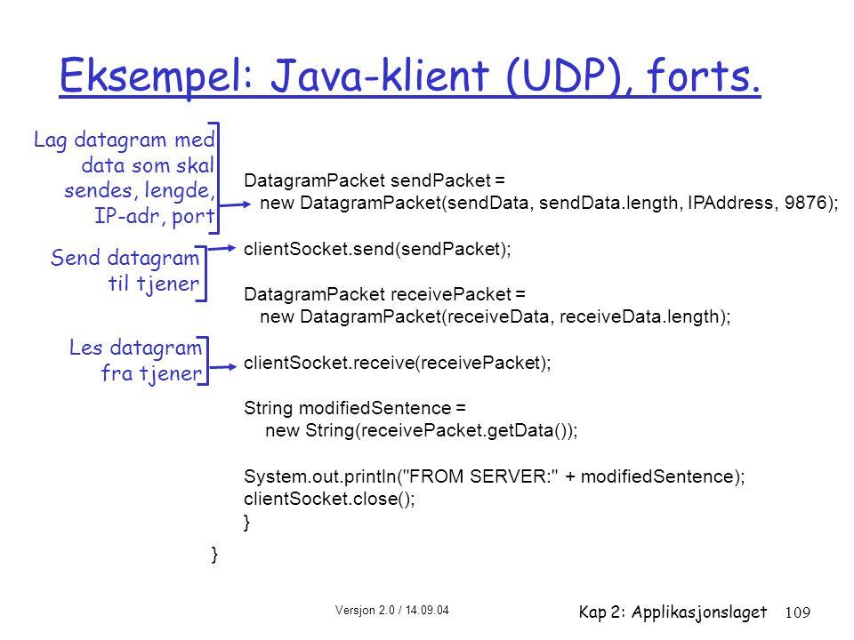 Eksempel: Java-klient (UDP), forts.