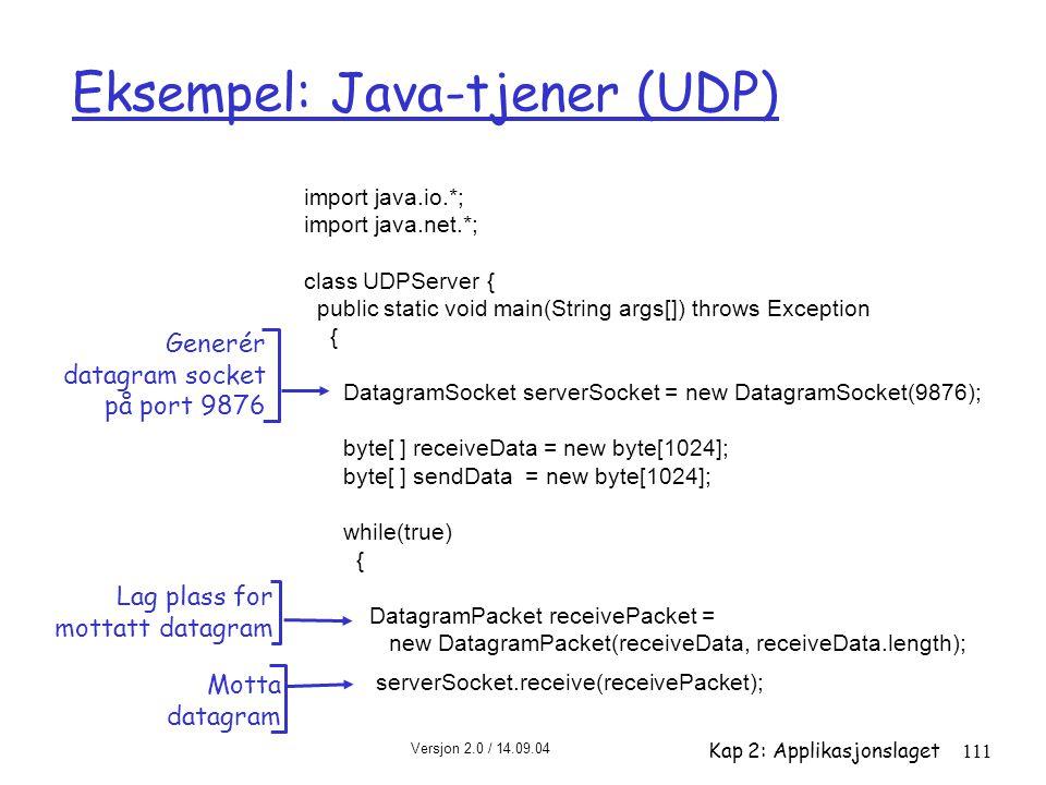 Eksempel: Java-tjener (UDP)