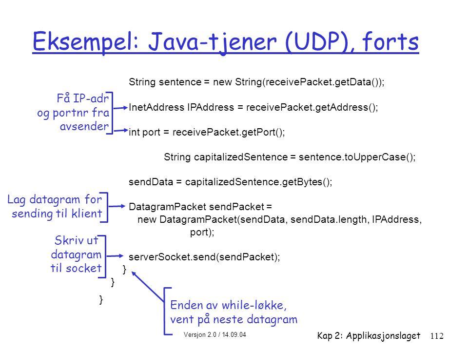Eksempel: Java-tjener (UDP), forts