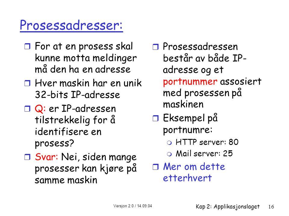 Prosessadresser: For at en prosess skal kunne motta meldinger må den ha en adresse. Hver maskin har en unik 32-bits IP-adresse.