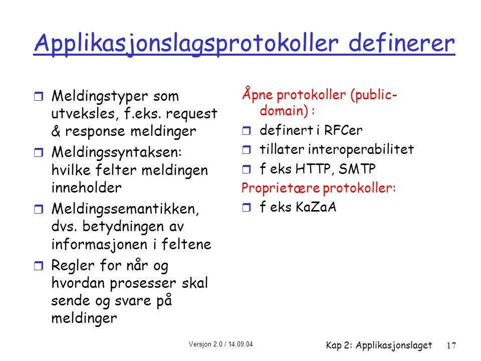 Applikasjonslagsprotokoller definerer