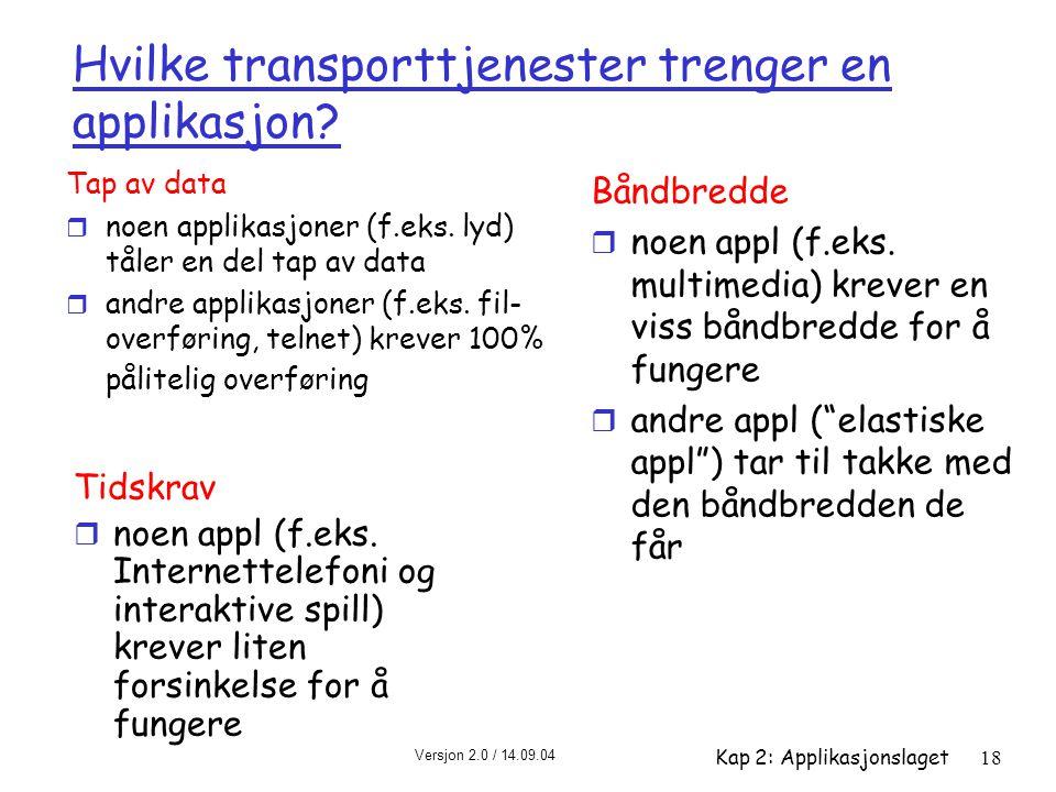 Hvilke transporttjenester trenger en applikasjon