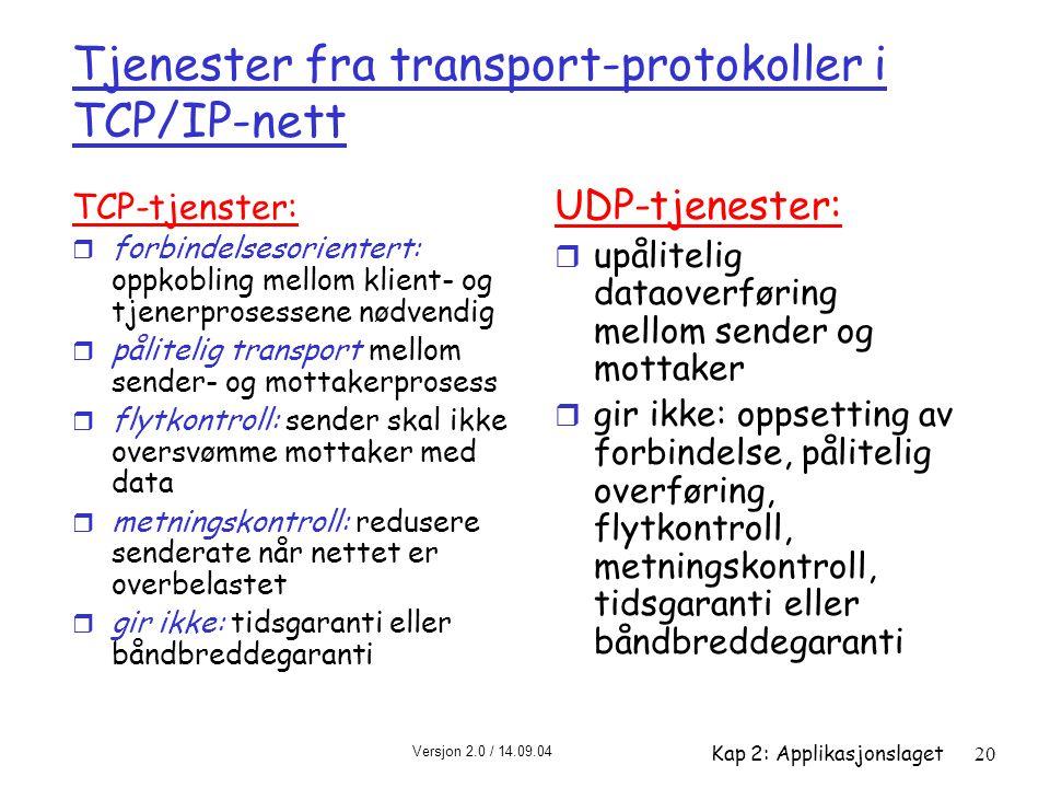 Tjenester fra transport-protokoller i TCP/IP-nett
