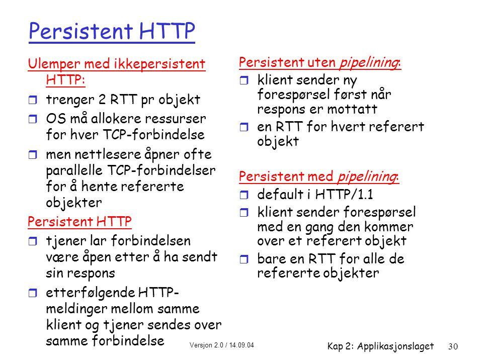 Persistent HTTP Ulemper med ikkepersistent HTTP: