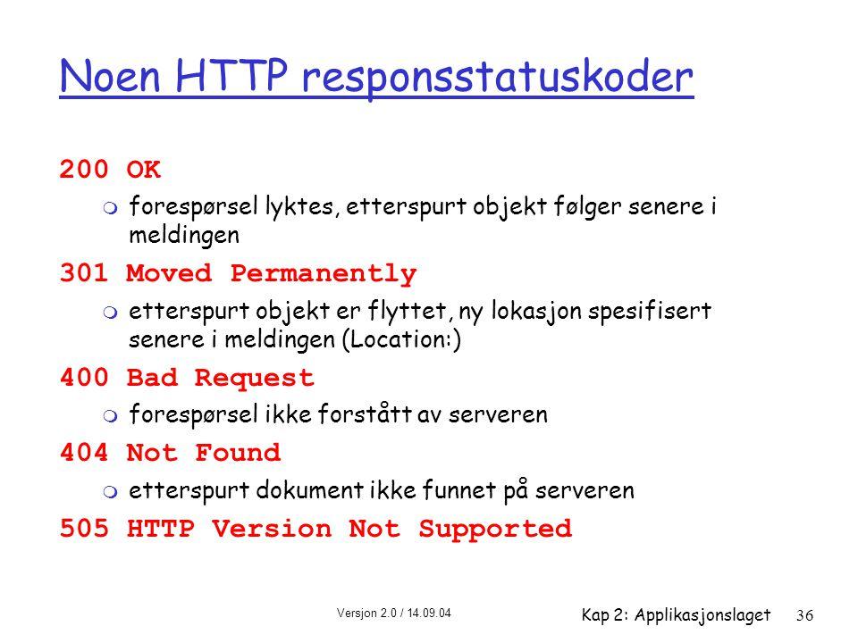 Noen HTTP responsstatuskoder