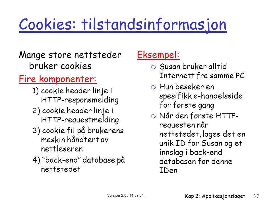 Cookies: tilstandsinformasjon