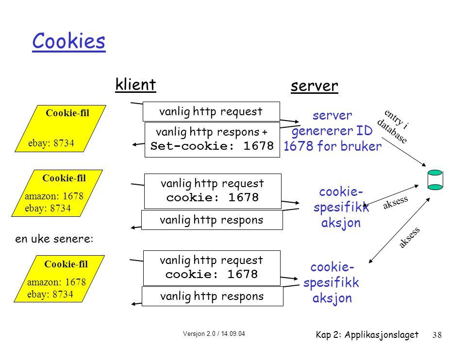 Cookies klient server server genererer ID 1678 for bruker