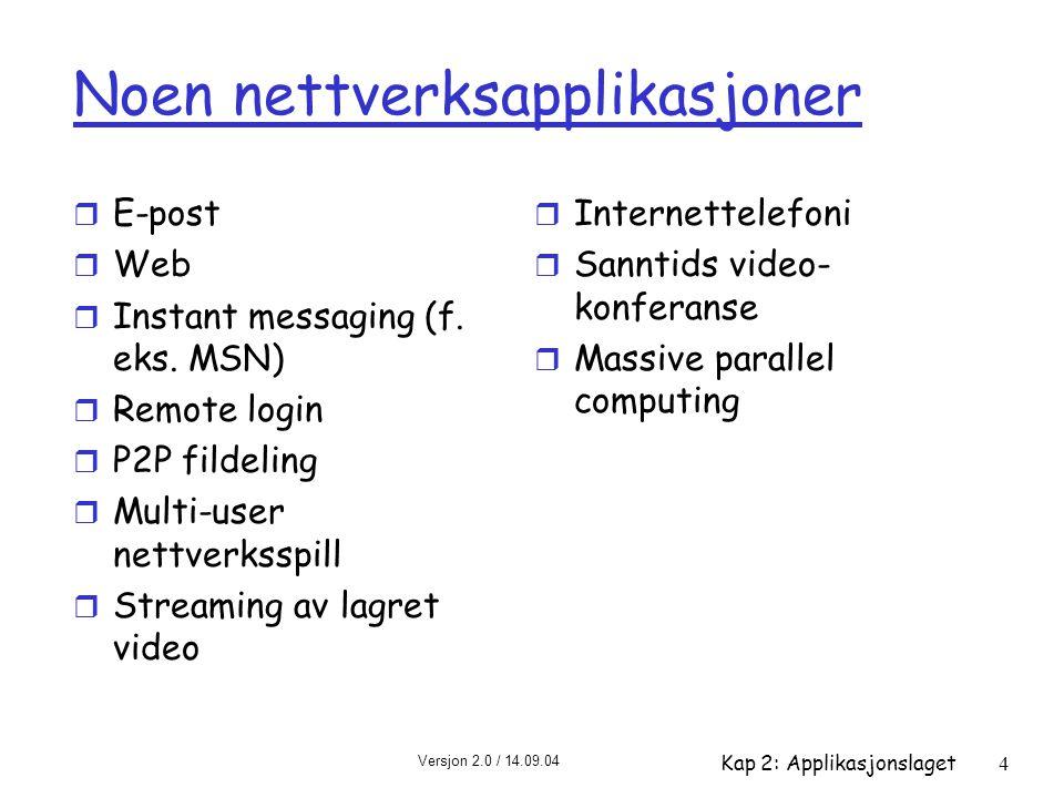 Noen nettverksapplikasjoner