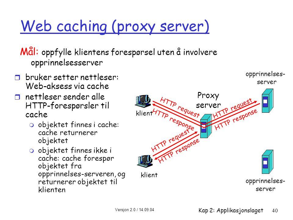 Web caching (proxy server)