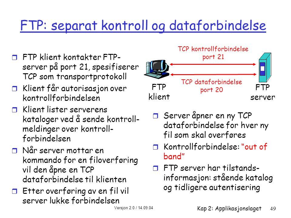 FTP: separat kontroll og dataforbindelse