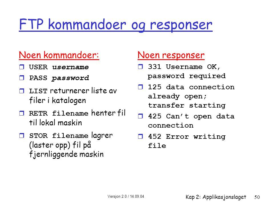 FTP kommandoer og responser