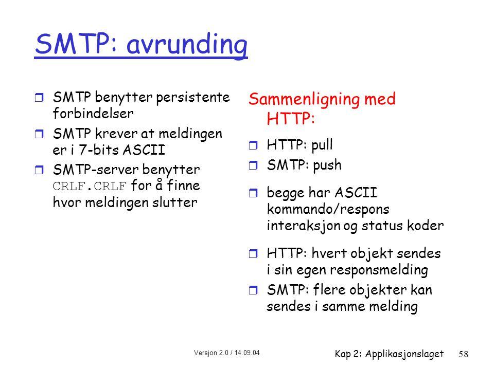 SMTP: avrunding Sammenligning med HTTP: