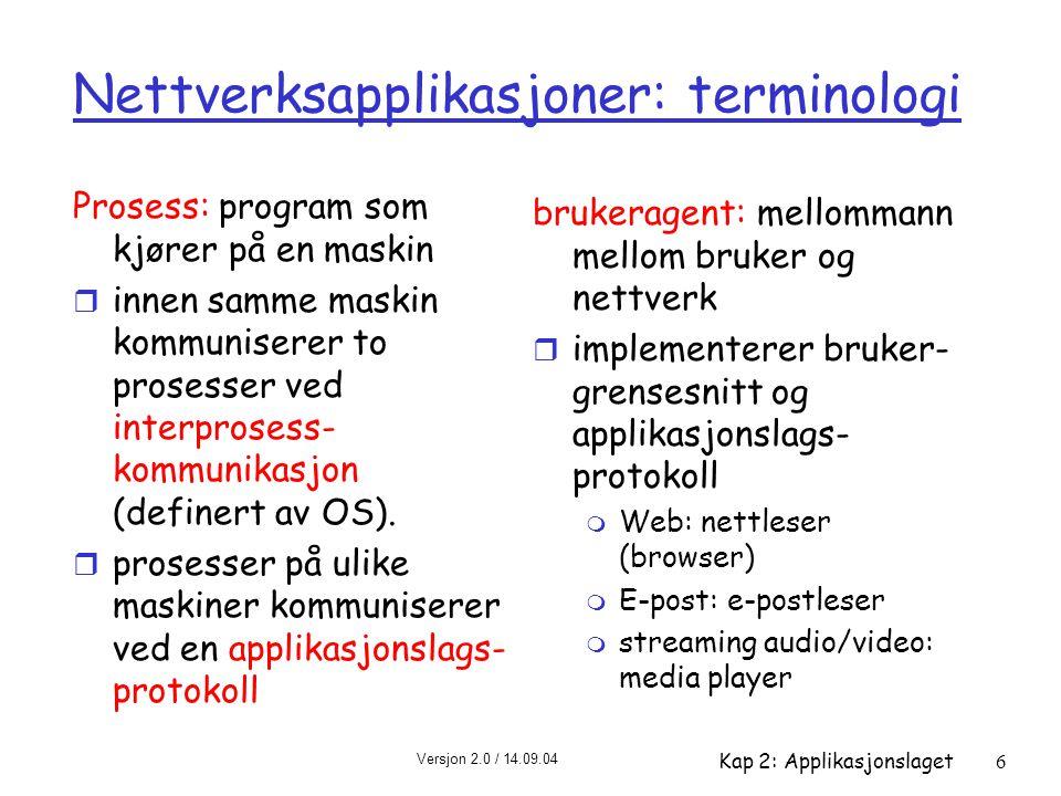 Nettverksapplikasjoner: terminologi