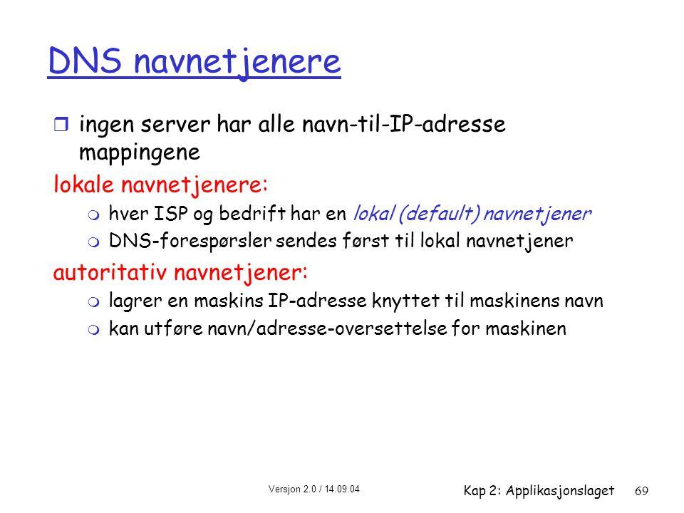 DNS navnetjenere ingen server har alle navn-til-IP-adresse mappingene