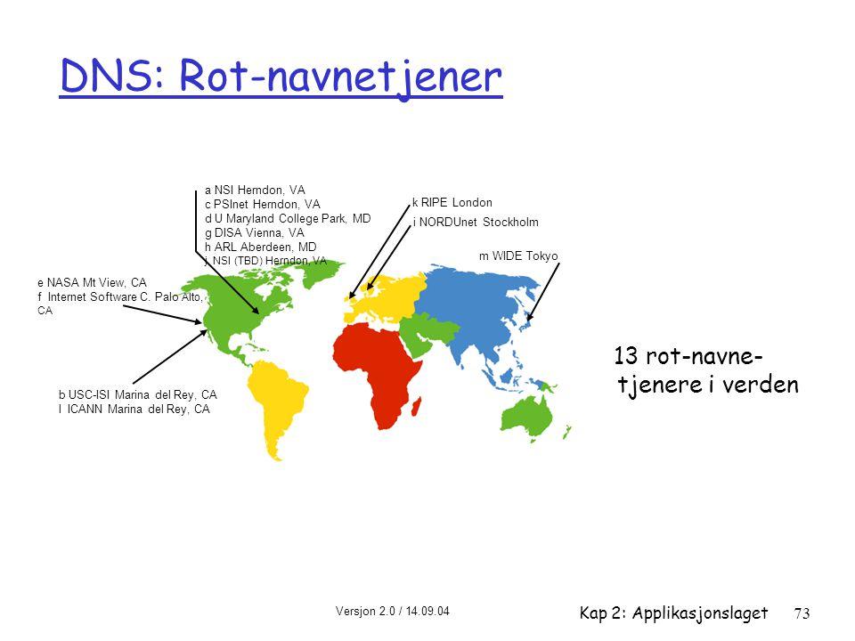 DNS: Rot-navnetjener 13 rot-navne- tjenere i verden