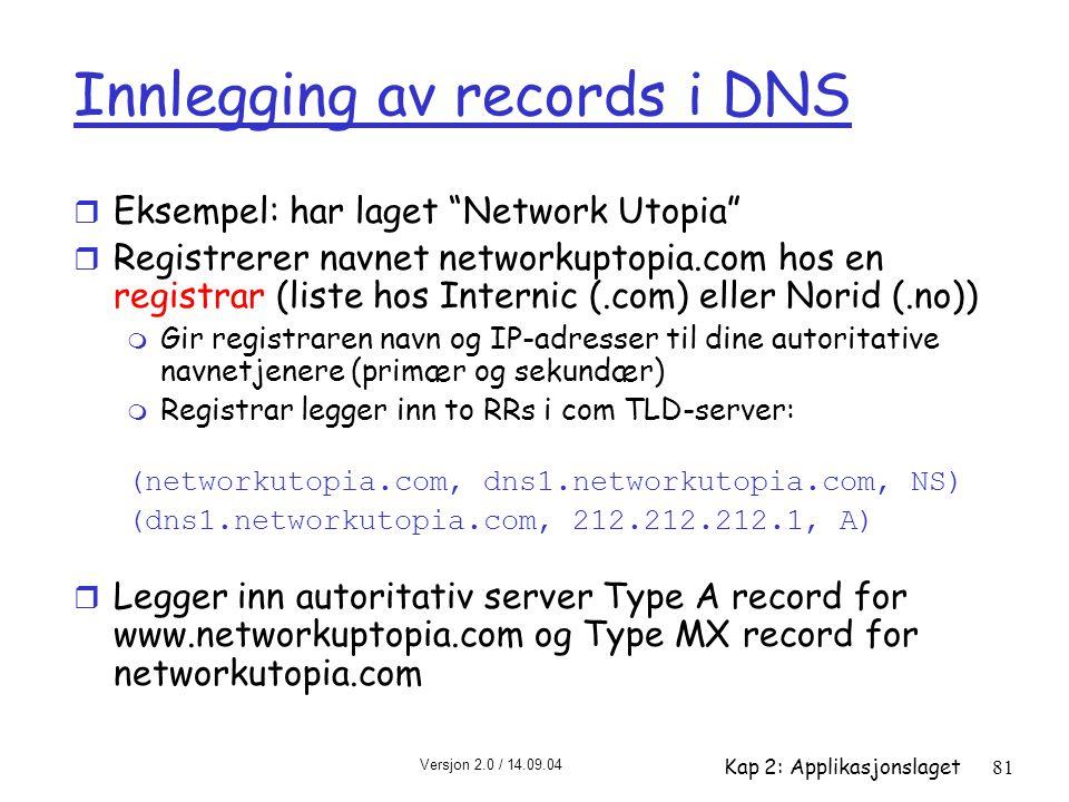 Innlegging av records i DNS