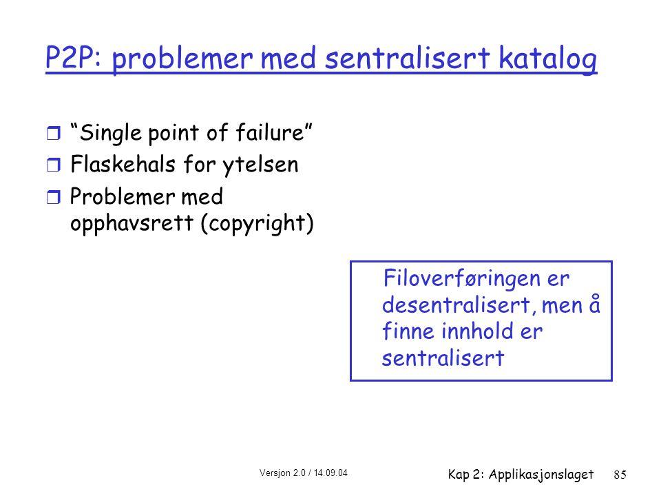 P2P: problemer med sentralisert katalog