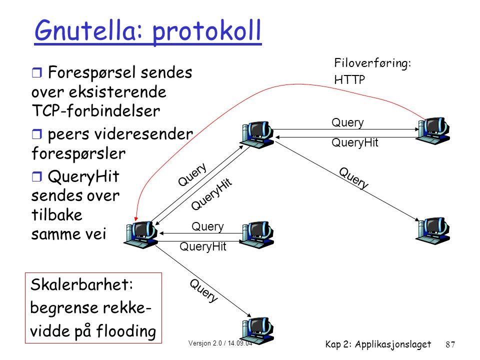 Gnutella: protokoll Filoverføring: HTTP. Forespørsel sendes over eksisterende TCP-forbindelser. peers videresender forespørsler.
