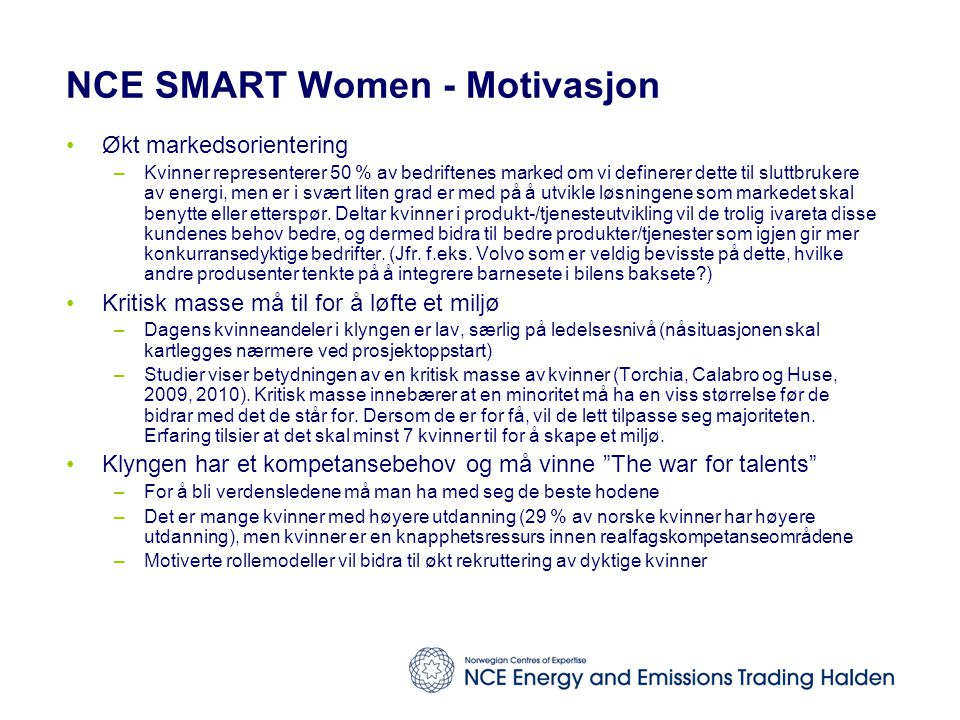 NCE SMART Women - Motivasjon
