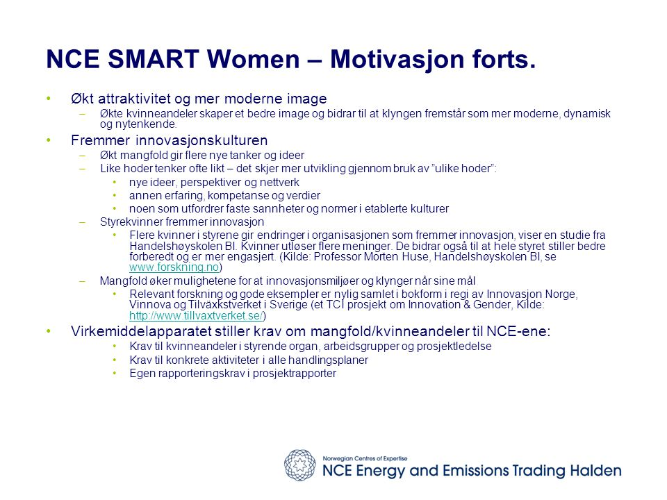 NCE SMART Women – Motivasjon forts.