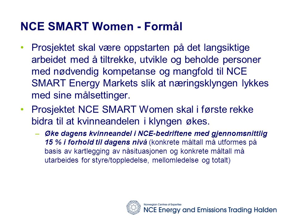 NCE SMART Women - Formål