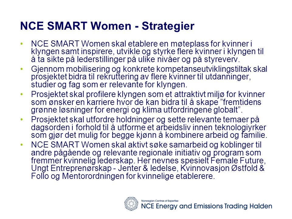 NCE SMART Women - Strategier