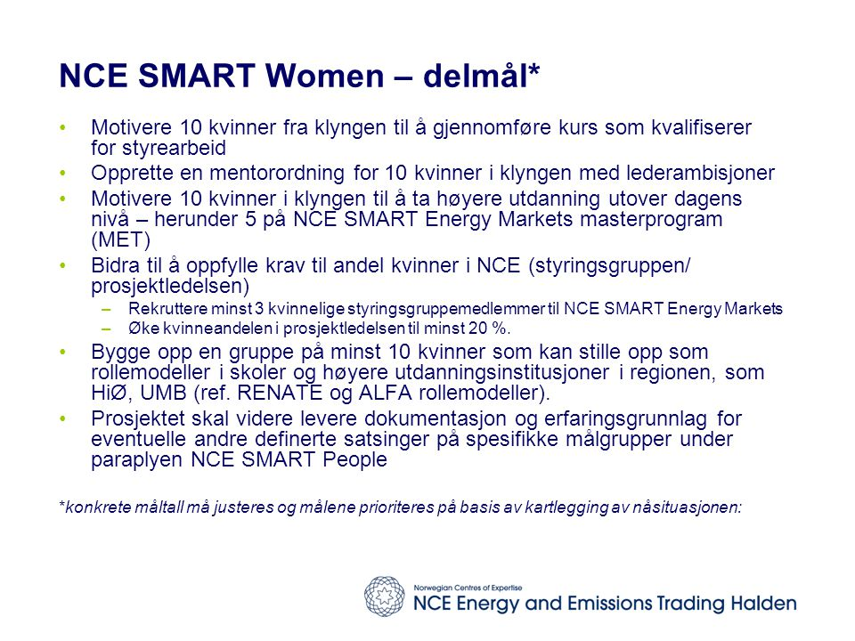 NCE SMART Women – delmål*