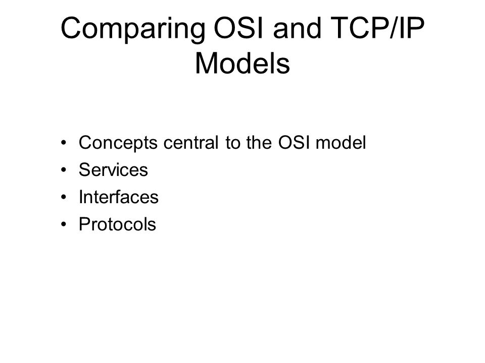 Comparing OSI and TCP/IP Models