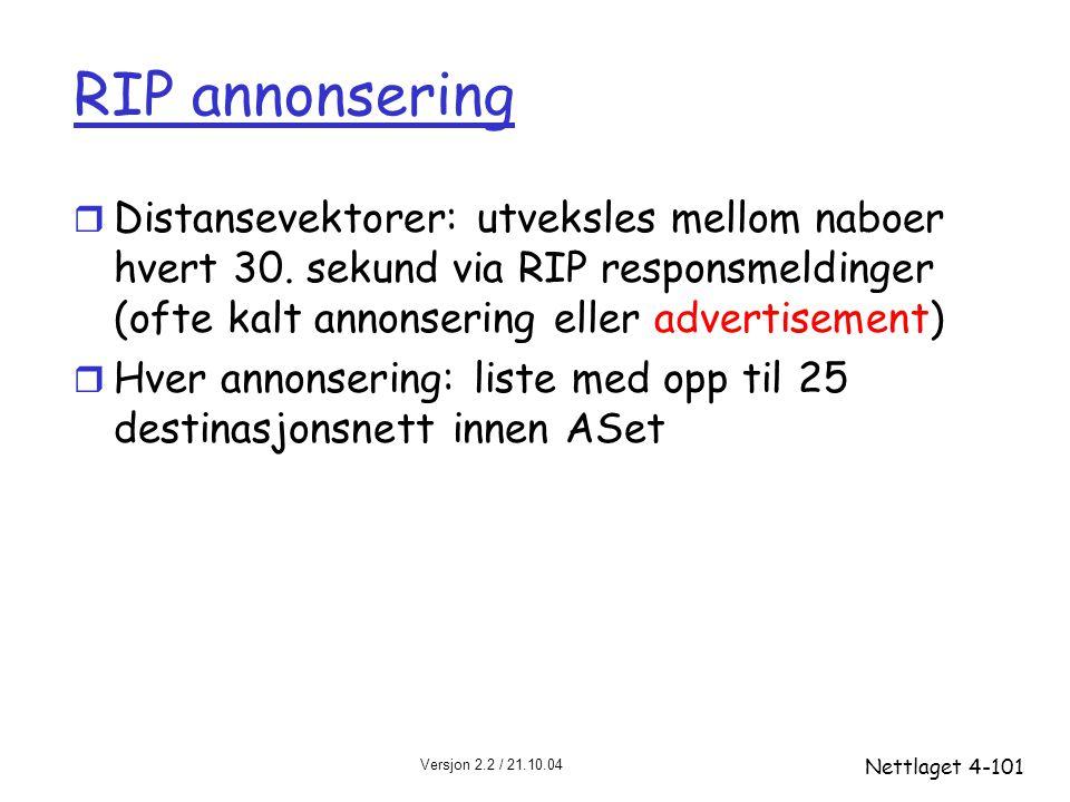 RIP annonsering Distansevektorer: utveksles mellom naboer hvert 30. sekund via RIP responsmeldinger (ofte kalt annonsering eller advertisement)